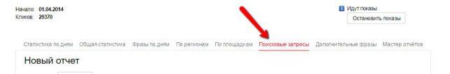 минус слова поисковые запросы директ