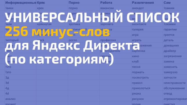 общий список стандартных минус слов директ